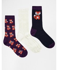Totes - Lot de 3 paires de chaussettes pour femme à motif renard - Multi