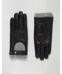 ASOS - Gants en maille torsadée et cuir spécial écran tactile - Noir