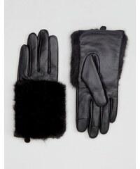 ASOS - Gants en cuir et fausse fourrure pour écrans tactiles - Noir
