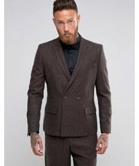 ASOS Slim Double Breasted Suit Jacket In Brown Herringbone - Marron