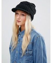 Hat Attack - Casquette en maille torsadée avec pompon - Noir