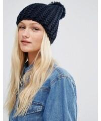 Hat Attack - Bonnet en maille chevron - Bleu marine