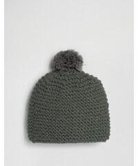 Hat Attack - Bonnet en maille avec pompon tricoté - Gris