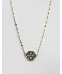 Nylon - Halskette mit filigraner Scheibe - Gold