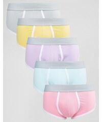 ASOS - Lot de 5 boxers à couture en U coloris pastel - Multi