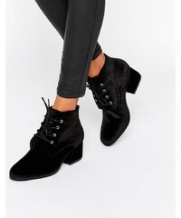 London Rebel - Bottines à lacets en velours avec talons mi-hauts - Noir