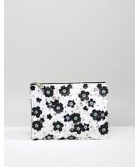 ASOS Mono Floral Embellished Zip Top Clutch Bag - Multi