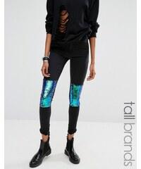 Noisy May Tall - Skinny-Jeans mit Knieaufnähern mit Pailletten - Schwarz