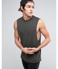 ASOS - T-shirt sans manches à emmanchures larges - Kaki - Vert