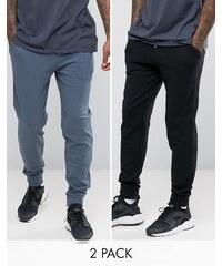 ASOS - Lot de 2 pantalons de jogging skinny - Bleu/Noir - Multi