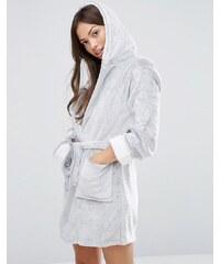 Loungeable - Fleece-Bademantel mit Kapuze - Grau