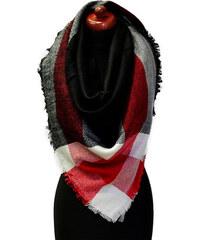 Maxi šála 69pz013-70.20a - černočervená kostkovaná