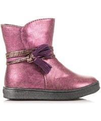 AMERICAN CLUB Módní růžové boty zateplené kožíškem