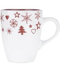Červeno-krémový keramický hrnek s vánočním motivem Dakls