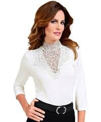 LADY Damen Lady Shirt mit Spitzen-Partie weiß 38,40,42,44,46,48,50,52,54