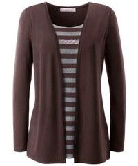 COLLECTION L. Damen Collection L. 2-in-1-Shirt mit glänzenden Ziersteinchen braun 36,38,40,42,44,46,48,50,52,54