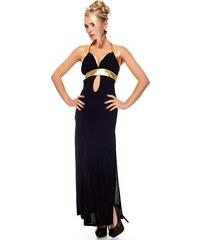 Catch Fashion Dlouhé černé šaty se zlatými pásky