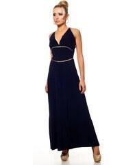 Lili London, Anglie Dlouhé modré šaty s volnými zády