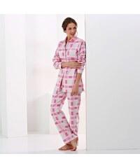 Blancheporte Flanelové pyžamo s kostkovaným vzorem šedá/fuchsie, potisk kostky 34/36