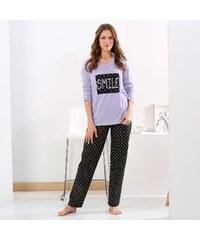 Blancheporte Dámské pyžamo s puntíky, bavlna a flanel lila/černá, potisk puntík 34/36