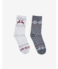 chaussettes mi-hautes gris anthracite chiné et gris chiné Jennyfer