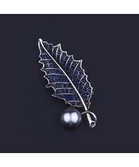 Brož ve tvaru listu s modrými krystalky