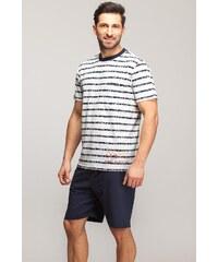 Pánské pyžamo Rossli SAM-PY028, L bílá/tmavě modrá