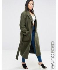 ASOS CURVE Wool Blend Midi Coat with Tie Belt - Vert