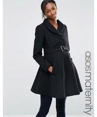 ASOS Maternity - Manteau coupe patineuse à col cheminée - Noir