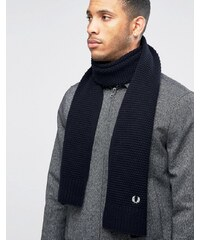 Fred Perry Pique Scarf In Lambswool - Bleu marine