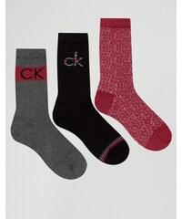 Calvin Klein - Lot de 3 paires de chaussettes avec logo dans un coffret cadeau en métal - Multi