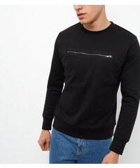 New Look Schwarzes Sweatshirt mit Reißverschluss vorne