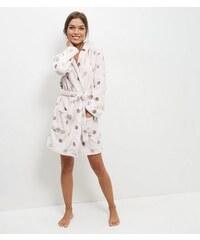 New Look Rosa Bademantel mit Kapuze und Punkten