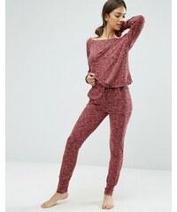 ASOS LOUNGE - Pantalon de survêtement côtelé et moucheté - Rouge