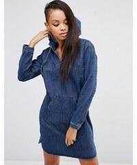 ASOS - Robe en jean à capuche et poche kangourou - Bleu