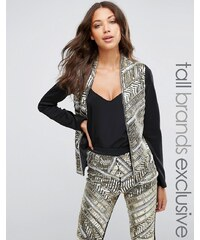 Maya Tall Premium Embellished Front Blazer - Gold
