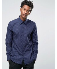 Reiss - Chemise habillée ajustée à pois - Bleu marine