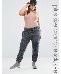 Daisy Street Plus - Pantalon de jogging avec écussons bruts sur les genoux - Gris