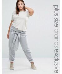 Daisy Street Plus - Pantalon de jogging avec liens à nouer à la taille - Gris