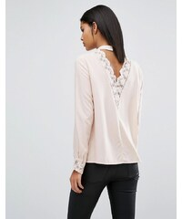 Vila Open Back Top With Lace Detail - Rose