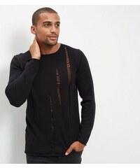 New Look Schwarzer Pullover mit Rundhalsausschnitt und Laufmaschendesign