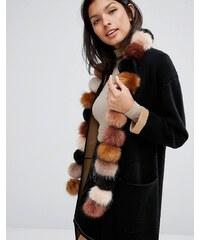 Urbancode - Longue écharpe avec pompons en fausse fourrure - Multi