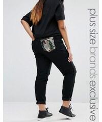 Liquor & Poker Plus - Jean avec déchirures et poche ornée de sequins - Noir