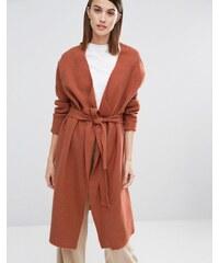 Selected - Darla - Manteau en maille style cardigan avec ceinture - Orange