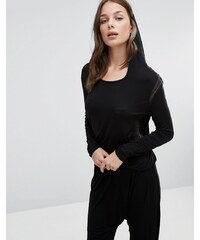 Heidi Klum Intimates Heiki Klum - Top à manches longues et capuche - Noir