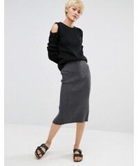 Oneon - Pull tricoté main avec manches torsadées et épaules dénudées - Noir