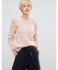 Oneon - Pull tricoté main avec manches torsadées et épaules dénudées - Rose