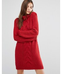 Oneon - Robe pull tricotée main avec détails torsadés - Rouge