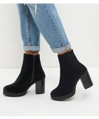 New Look Wide Fit – Schwarze Chelsea-Stiefel mit Blockabsatz und dicker Sohle