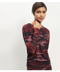 New Look Weinroter, leichter Pullover mit Camouflage-Muster